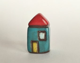 Little House Collectible Ceramic Miniature Black Clay House