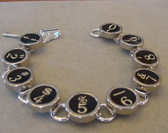 Typewriter Key Bracelet   Basic BLACK NUMBERS Vintage Typewriter key Jewelry