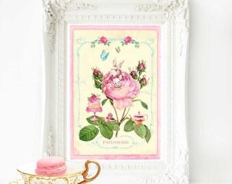 Rabbit print, nursery decor, rabbit decor, pink, baby girl nursery decor, Alice In Wonderland, white rabbit, pink, yellow, pastel nursery