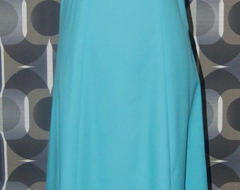 Vintage 1970's turquoise long dress with white lace trim