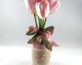 Ballerina Pink Tulip arrangement, Spring Arrangement, floral arrangement, gift for her, Easter decoration, home decor, bridal shower decor