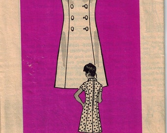 1960s Mail Order Mod Dress Sewing Pattern Anne Adams 4587 Size 12.5 Double Breasted