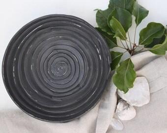 Black Spiral bowl. Matte decorative serving bowl. Modern, Rustic handmade pottery bowl. Big round centerpiece