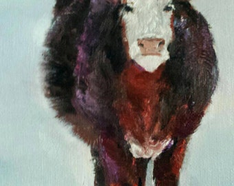Cow Painting 5x7 Oil Painting Farm and Ranch Cow Art
