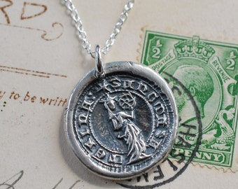 Saint Catherine of the Wheel wax seal necklace ...  fine silver medieval wax seal jewelry