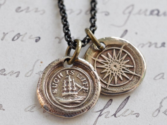 compass and ship reversible wax seal necklace ... such is life - courage, adventure, navigation - bronze nautical wax seal jewelry