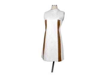Vintage 60s Mini Dress - 60s Mod Dress - 60s Go-Go Dress - 60s Leather Dress - Leather Dress - Space Age Dress - White Leather Dress - Go Go