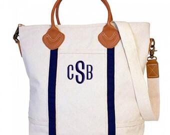 Monogrammed Canvas Tote Bag, Flight Bag, Travel Bag, Bridal Gift, Zipper Top Large