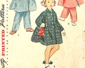 Size 2 1950's Coat, Hat and Leggings Vintage Sewing Pattern Simplicity 4454