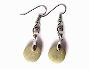 Natural Stone Earrings, Eco-Friendly, Dangle River Rocks, Beach Stones, Rock Jewelry by Hendywood