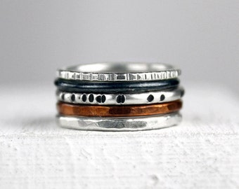 Hammered Silver Stacking Rings with Copper, Mixed Metal Rings with Varied Texture and Finish, Set of Five