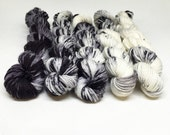 Dyed to Order -  Hand Dyed Yarn - Ink Blot - Speckled Gradient Mini Skein Set