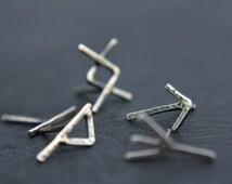 Viking rune earring - rustic - oxidized sterling silver - stud earring - distressed - viking jewelry - rune jewelry