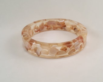 Real Abalone Shell Pieces in Clear Resin Bracelet  Bangle Jewelry Nature Neutral Tones