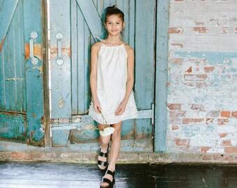 Dress, Girls Dress, Pillowcase Dress, Girls Ivory Pocket Ribbon Tie Dress - Farrah by Lilla Grey