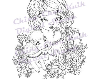 Sweet Poodle - Digital Stamps Instant Download / Cute Animal Puppy Dog flower Fantasy Fairy Girl Art by Ching-Chou Kuik