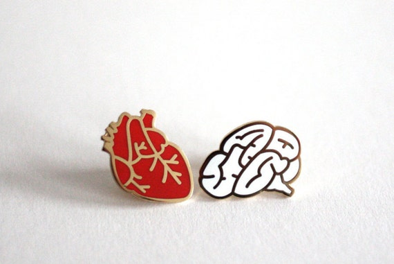 Pre Order! Heart & Brain Enamel Pin Badges, Valentine's Gift, Set of Two Pins, Hard Enamel Pins, Romantic Gift, RockCakes, Brighton, UK