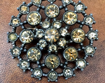 Large Vintage Gothic Inspired Round Smokey Rhinestone Brooch Pin Dark Silver Tone Setting