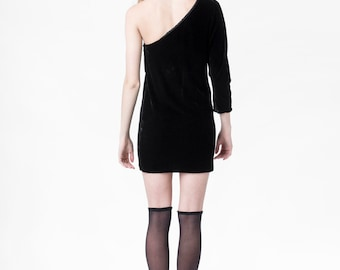 VELVET mini dress black vintage minimal long sleeve One Shoulder NYE party holiday / Small xS / better stay together