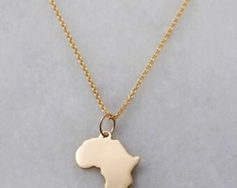 14K Gold Africa + Diamond