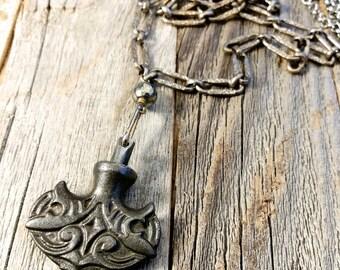 Swinging Iron Axe Pendant // Vintage Necklace