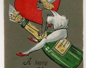 Antique Happy New Year Postcard - Woman Rides Champagne Bottle