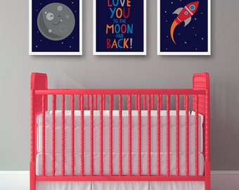 Space Nursery Art, Nursery Decor, I love you to the moon, space theme art, rocket, moon, blue room decor