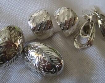 3 Pair of Vintage Silver Metal Costume Jewelry Clip Earrings