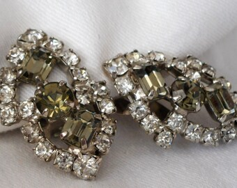 Vintage Smokey & Clear Rhinestone Silver Metal Costume Jewelry Clip Earrings