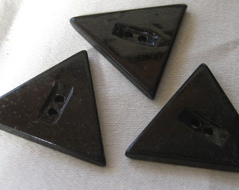 Set of 3 Large VINTAGE Triangle Black Casein BUTTONS