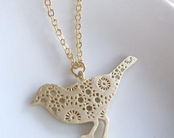 Gold Bird Necklace, Gold Bohemian Flower Bird, Modern, Patterned Bird Pendant, Gardendiva