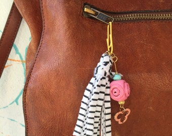 Bead and Tassel Charm Cluster Pendant Key Chain or Purse Zipper Charm Pink Yellow Gold Peach Aqua Black and White Stripes