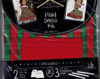 Little Dress Boutique Complete Toddler Girls Dress Kit Plaid Holiday Christmas Size 2 3 4 UNUSED