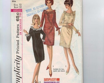 1960s Vintage Sewing Pattern Simplicity 6226 Misses Slim Dress with Long Sleeves and Ruffled Neck Size 12 Bust 32 1965 60s  99