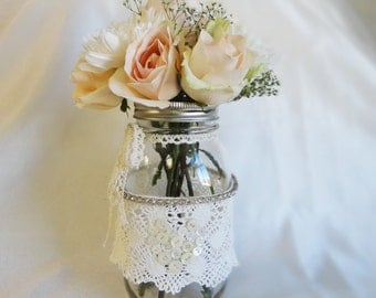 Wedding Centerpiece Mason Jar and Vintage lace, buttons, rhinestones