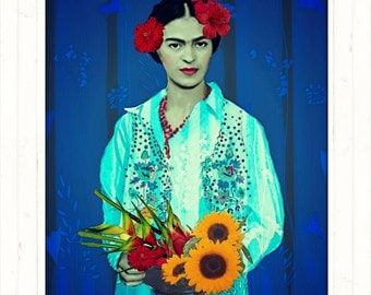 Frida Kahlo Instant Digital Download Poster Art Print Surreal Painting Mexican Fruit Flowers Collage Aqua Blue Red All Sizes