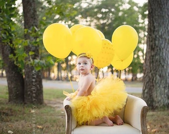 Yellow First Birthday Outfit Girl Tutu, Baby Tutu Dress, Tulle Skirt, Baby Shower Gift, Baby Girl Coming Home Outfit, 1st Birthday Outfit