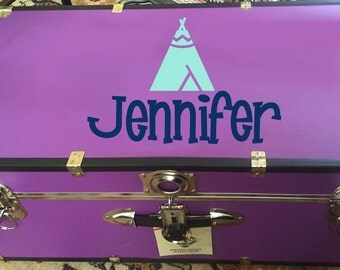 TeePee Camp Trunk Decal - Camp Trunk Decal - Personalized - Tent Sticker - Summer Camp - Personalized - Camping