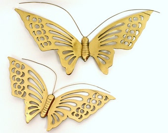 Pair of Large Brass Butterfly Wall Hangings