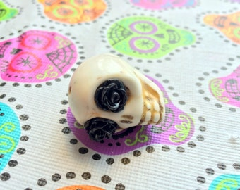 Gigantic Ivory Howlite Skull Bead or Pendant  with Black Rose Eyes
