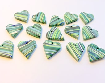 Green Blue Brown Marbled Top Drilled 20 mm Handmade Polymer Clay Heart Beads