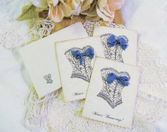 Lingerie Thank You Cards Flowered Corset Merci Beaucoup Thank You Cards- Parchment - Set of 10 -  Bridal Shower Lingerie Party Bachelorette