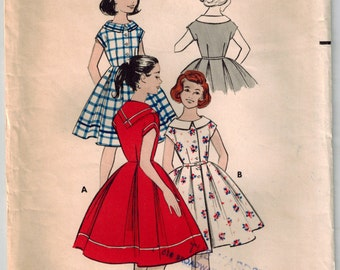 Vintage 50's Girls' Dress Sewing Pattern Size 12 Button Front Dress Full Skirt Side Pleats Kerchief Collar or Rounded Collar Summer Dress