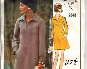 Vintage 60s Vogue Paris Original 2343 Sewing Pattern Nina Ricci Loose Fitting A-line One Piece Dress Shawl Collar Long/Short Sleeves Bust 34