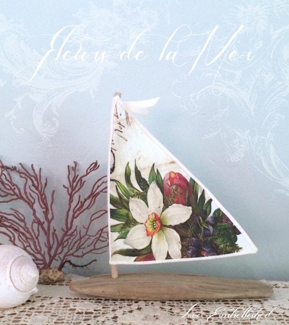 Driftwood Sailboat Beach Decor Bohemian Inspired Romance Beachside Lakeside Boho Wedding 7.25 inch ~ Nautical Seaside Cottage