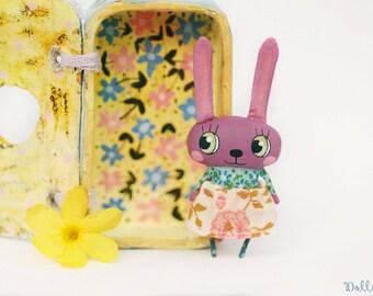 Bluish purple bunny doll, Rabbit doll, Woodland doll, Mini hare doll, Ooak bunny toy, Baby bunny, Stuffed bunny animal, Dollhouse rabbit
