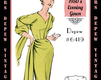 Vintage Sewing Pattern 1950's Ladies' Slim Evening Gown in Any Size - PLUS Size Included - Depew 6419-INSTANT DOWNLOAD-