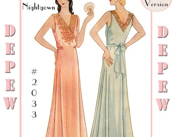 Vintage Sewing Pattern Multi-Size Reproduction 1930's Ladies' Wrap NightGown #2033 - Full Sized PAPER VERSION