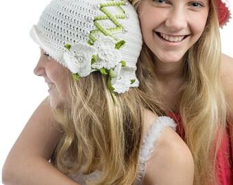 CROCHET PATTERN Bouquet de Fleurs Crochet Pattern Two Hats with Easy Detachable Flowers  Sizes Child (Youth, Adult)