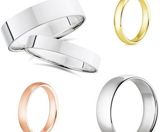 14K Gold wedding bands Flat and Domed 2mm, 3mm, 4mm, 5mm. All sizes